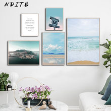 Tropical Coastal Beach Landscape Picture Scandinavian Poster Canvas Wall Art Print Painting Motivational Quotes Nordic Decoation(China)