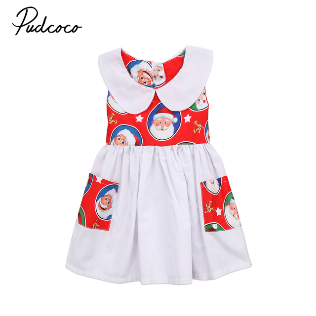 4d32a8a582496 US $3.89  2018 Brand New Lovely Kids Baby Girls Santa Dress Christmas Party  Princess Lace Tulle Tutu Xmas Dress Sleeveless Sundress 2 7T-in Dresses ...