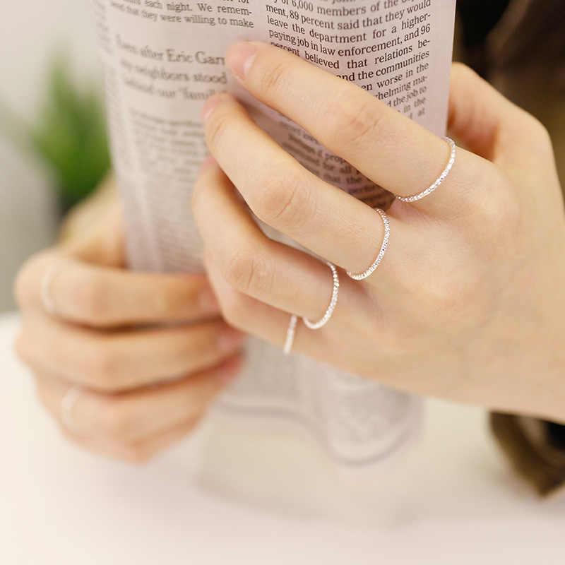 خاتم من الفضة الإسترليني 100% نقي حقيقي 925 عالي الجودة خاتم أنيق ناعم ورقيق خاتم إصبع صغير للنساء والرجال مجوهرات