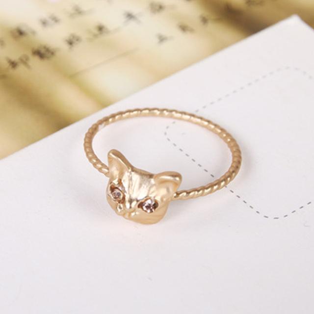 Silvery Golden Cute Animal Cat Rings For Women