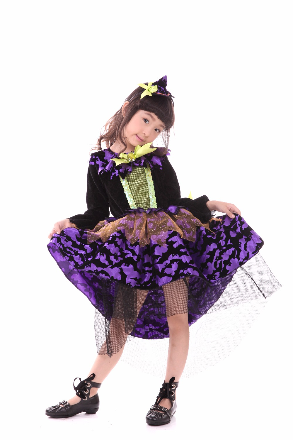 Halloween dress Holiday prop dance dress children's cosplay clothes kids clothing with lace princess party dress  cartoon witch luminous costumes glowing gloves shoes light clothing men dance clothes for holiday lighting decor