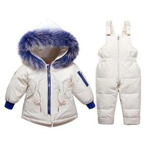 Image 5 - 아기 소년을위한 새로운 러시아 겨울 옷 소녀 1 4 년 어린이 정장 아래로 정품 모피 칼라 키즈 자켓 여자 겨울 코트