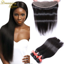 7A 13x4 Ear To Ear Lace Frontal Closure With 3 Bundles Peruvian Virgin Hair Straight Full