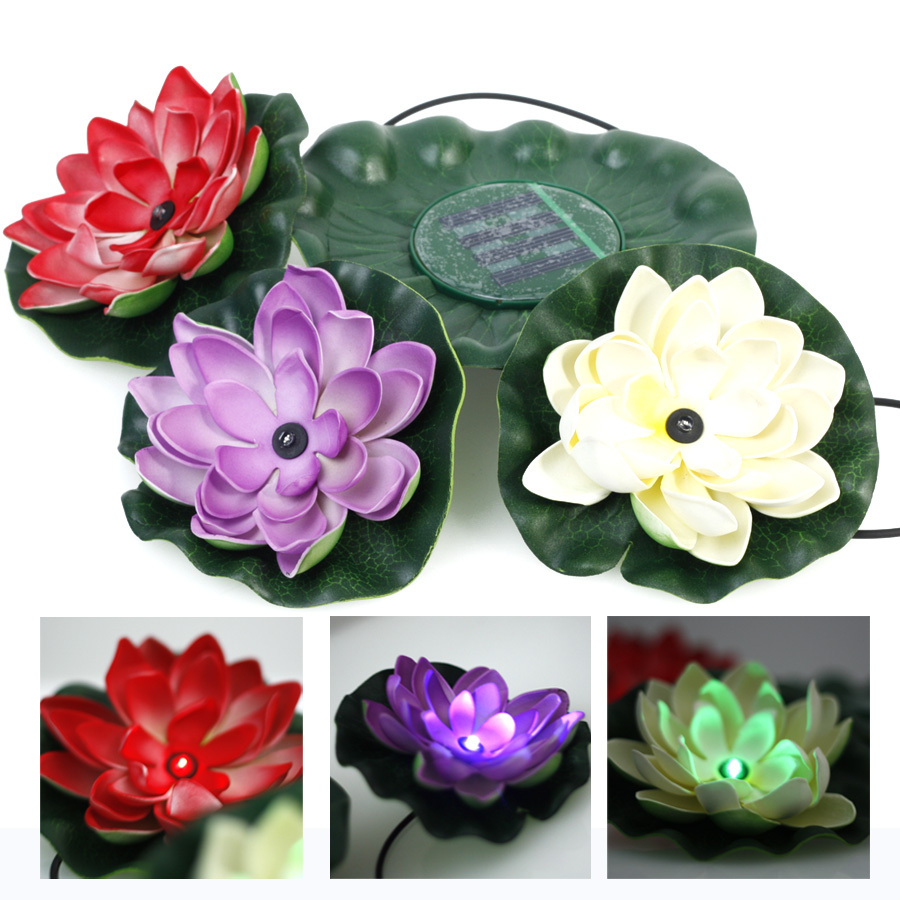 Solar powered swimming pool floating light solar floating light - Waterproof Solar Power Lotus Floating Rgb Colors Light Led Pool Flower Night View Lamp Decoration For