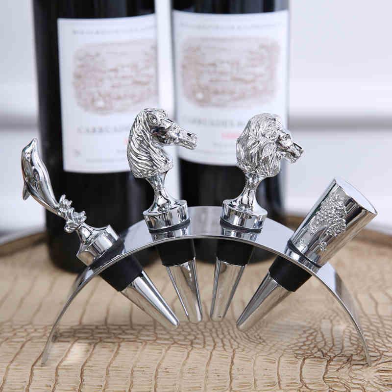 Wijn stopper set met rvs stand Creatieve flessenstop Wijn levert voor bar Thuis decoraties