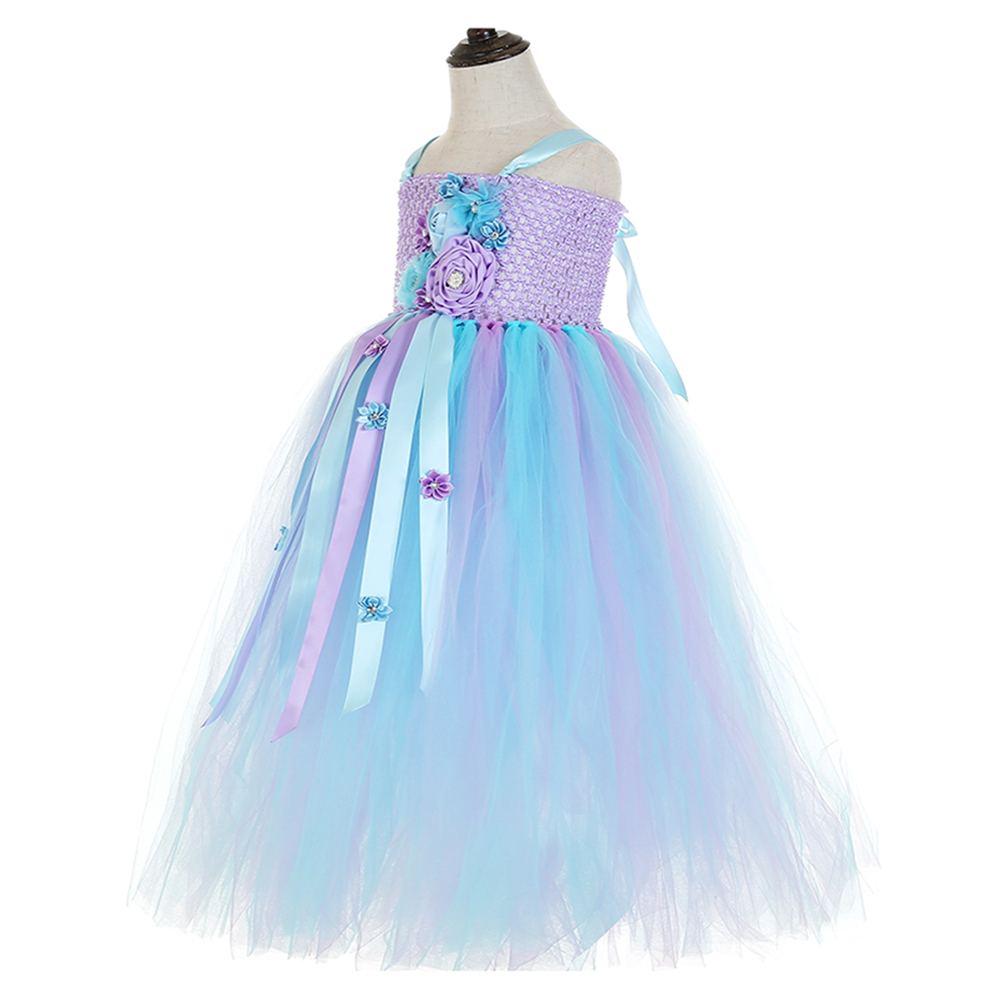 Elegant Purple Top Blue Mesh Tulle Tutu Dress Princess Kids Unicorn Lol Dress for Girl Ankle Length Flower Girls Dresses Age 13 (4)