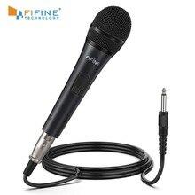 Fifine Microphone dynamique pour haut parleur Microphone Vocal pour karaoké avec interrupteur marche/arrêt comprend une connexion XLR de 14.8ft à 1/4