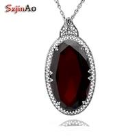 Szjinao Handmade Wedding Jewelry Big Garnet Personality Socialite Retro 925 Sterling Silver Garnet Pendants Wholesale