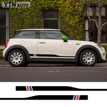 free shipping 2 PC side racing stripes CAR STICKERS for MINI