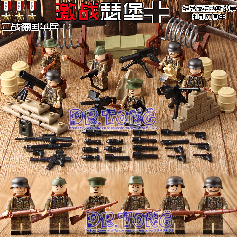 DR.TONG 60pcs/lot D181 WW2 Military War German Paratrooper Figures Building Block Military Soldier With Weapons Bricks Toys Gift цена