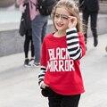 2017 Зима Девочек-Подростков Футболка Поддельные Длинные Рукава Топы Черный Красный Топы Одежда для возраст 5 6 7 8 9 10 11 12 13 14 15 16 Лет старый