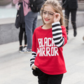 2017 Winter Teen Girls Sweatshirt Fake Long Sleeves Tops Black Red Tops Clothes for Age 5 6 7 8 9 10 11 12 13 14 15 16 Years Old