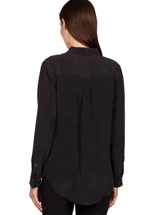 ee171fcf35d Белая шелковая блузка шелк атлас рубашка с длинным рукавом женские летние и Новинка  Европа и США двойной карман металлической пряжкой купить на AliExpress