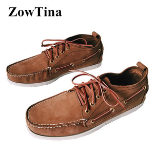 Image 1 - Men Top Leather Casual Flats Lace Up Fashion Driving Shoes Man Vintage Boat Shoes Chaussure Homme Size46 Zapatos Hombre Footwear