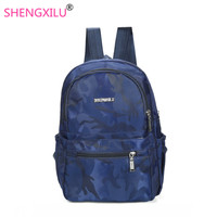 Shengxilu Casual Women Backpacks Big Brand Logo Blue School Bags Pink Travel Printed Flower Women Bags
