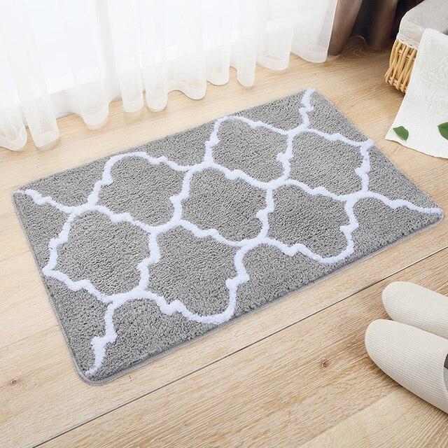 Badezimmer Rutschfeste Bodenmatte Absorbent Fußmatte Wohnzimmer Grau Blau  Marokkanischen Muster Rechteck Mikrofaser Matte 40x65 Cm/