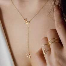 Simple Gold Moon Star Choker Necklace Pendnat Alloy Zinc Chain Necklace For Women Party Jewelry Wedding Christmas Gifts(China)