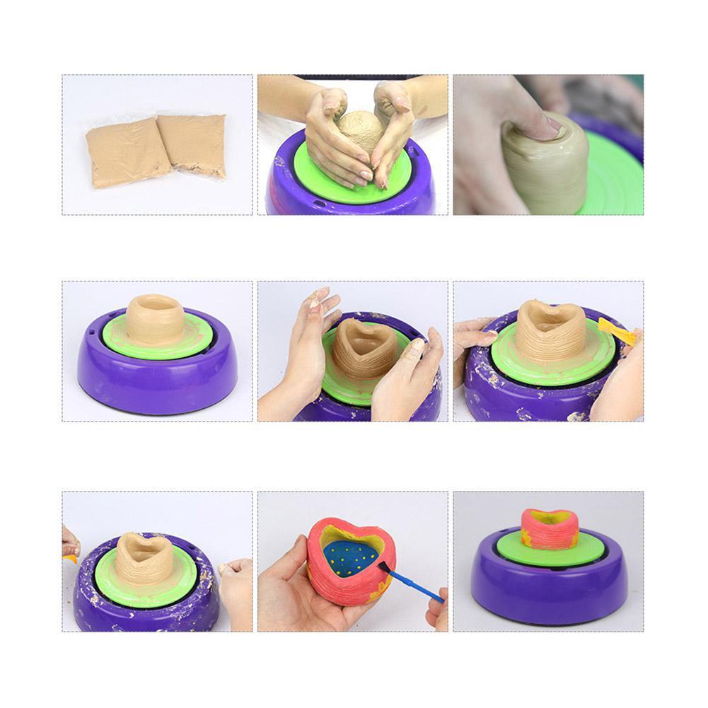 LeadingStar Enfants Mignon Électrique En Céramique Poterie Roue avec Kits D'argile BRICOLAGE Pigment Dispositif Enfants cadeau