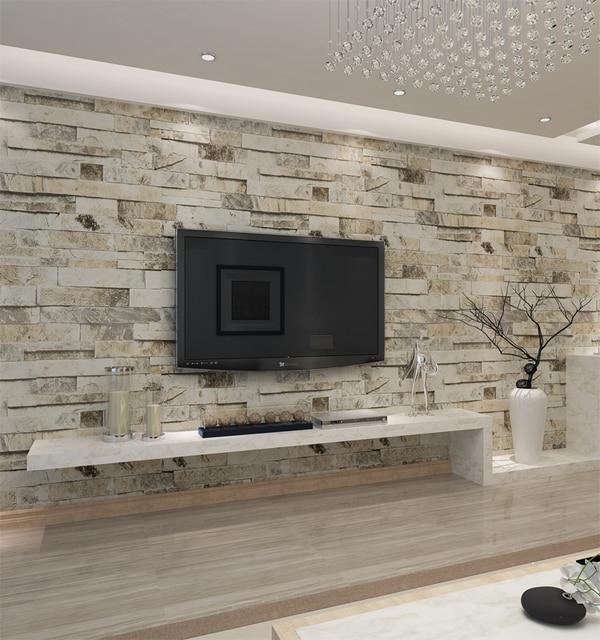 HANMERO Vintage Embossed Retro Brick Roll 3D Effect Brick Wallpaper For  Walls Living Room Background Bar