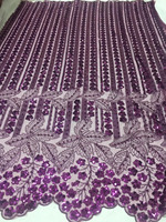 purple Beaded Sequins African Lace Fabric 2019 High Quality Lace 3D Embroidery Tulle French Lace Fabric For Wedding Lace