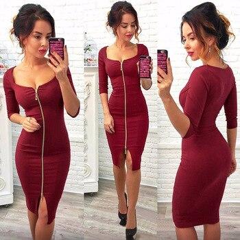 Femmes Sexy Club bas coupe moulante robe rouge velours gaine 2018 décontracté automne hiver Zipper mode robes de soirée noir travail de bureau