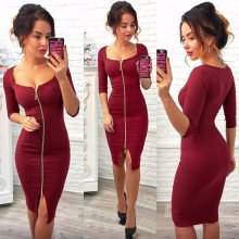 Women Sexy Club Low Cut Bodycon Dress Red Velvet Sheath 2018 Casual Autumn Winter Zipper Fashion Party Dresses Black Office Work(China)
