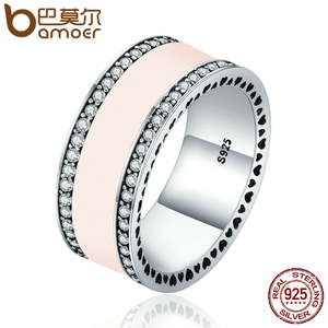 d8b852908 BAMOER Real 925 Sterling Silver Radiant Hearts & Light Pink Enamel Clear CZ  Wide Band Ring for Women Engagement Jewelry PA7624
