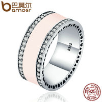 BAMOER Genuine 925 Sterling Silver Radiant Hearts Light Pink Enamel Clear CZ Finger Ring For Women