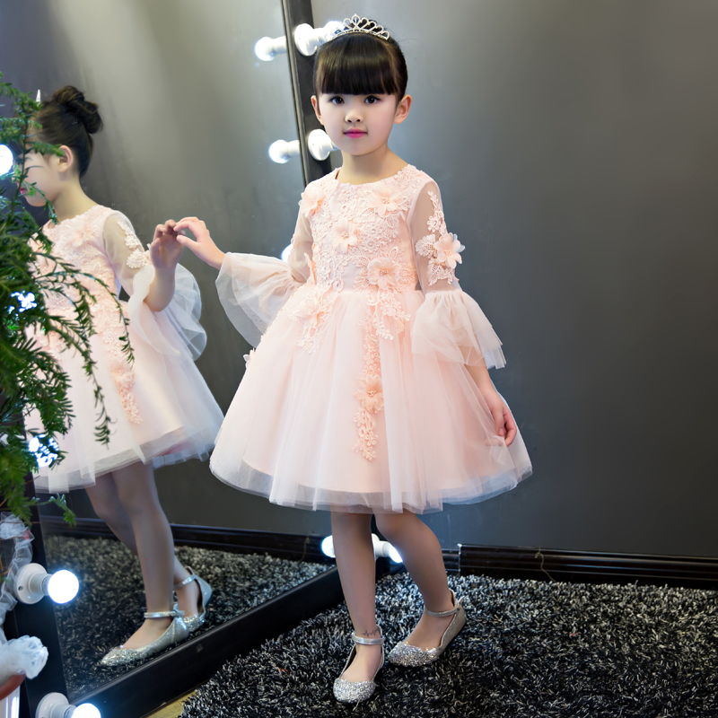 ФОТО Knee-Length Ball Gown Three Quarter Girls Wedding Dresses Summer 2017 New Flare Sleeves Wedding Gowns O neck Girls Clothes P26