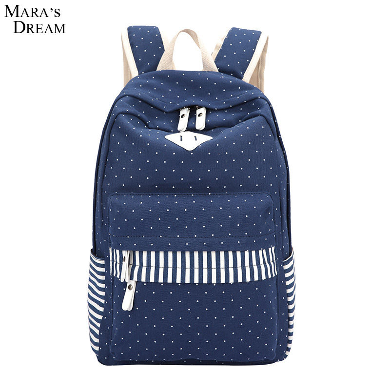 Mara s Dream 2017 Polka Dots Backpack for Girls Multifunctional Stripe Hit Color Canvas Backpack Boys