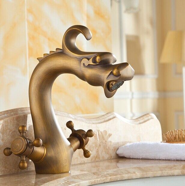 Drachen Waschbecken Wasserhahn Antike Messing Badezimmer Retro Wasserhahn  Waschbecken Tippen Warm Und Kaltwasser Mischbatterie Kostenloser