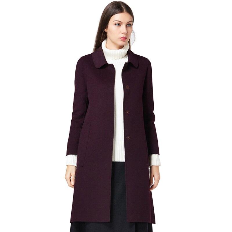 Winter Coats for Women 100% Wool Red Purple Jackets Pockets Slim ...