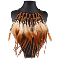 KCALOE Choker Feather Statement Necklaces & Pendants black/brown Women Leather tassel Jewelry Handmade ethnic Fashion Necklace