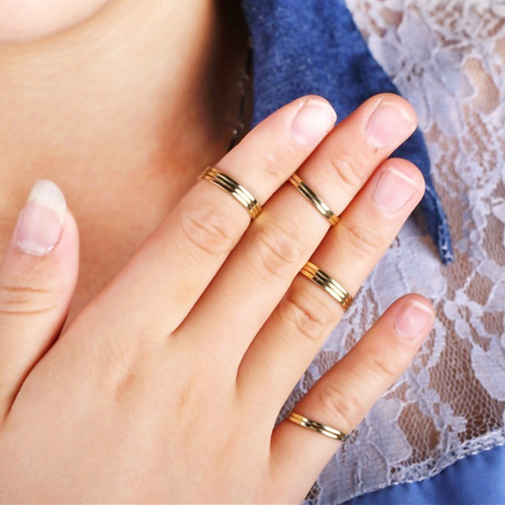01mm Gold Color Simple Circle Thin Ring Anel Aneis Smooth Wedding Rings  Stackable Knuckle Midi