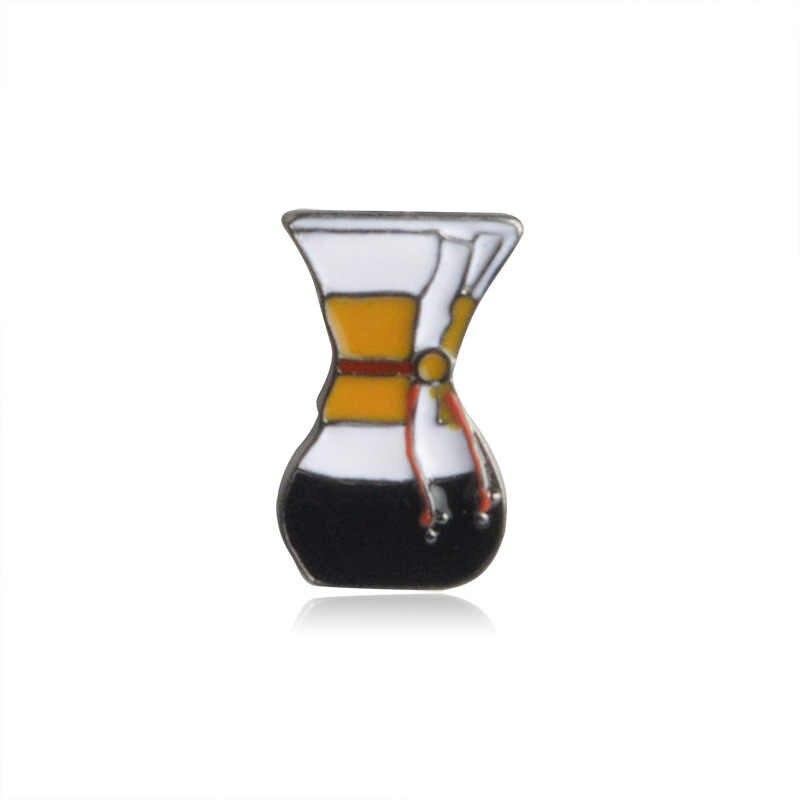 5 Gaya Trendi Kopi Cokelat Kehitaman Cangkir Filter Ketel Logam Enamel Bros Lucu Kepribadian Pakaian Ransel Pin Perhiasan Hadiah Terbaik
