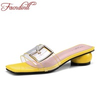 FACNDINLL Summer Slipper Woman Platfrom Sandals Middle Heels Simple Open Toe Shoes Ladies Casual Date Dress