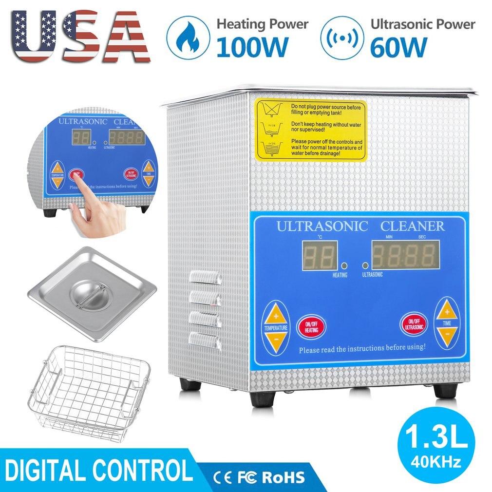 Professionele Rvs 1.3L Liter Industrie Verwarmde Ultrasone Reiniger Heater Grote Digitale Timer En Temperatuur Display - 2