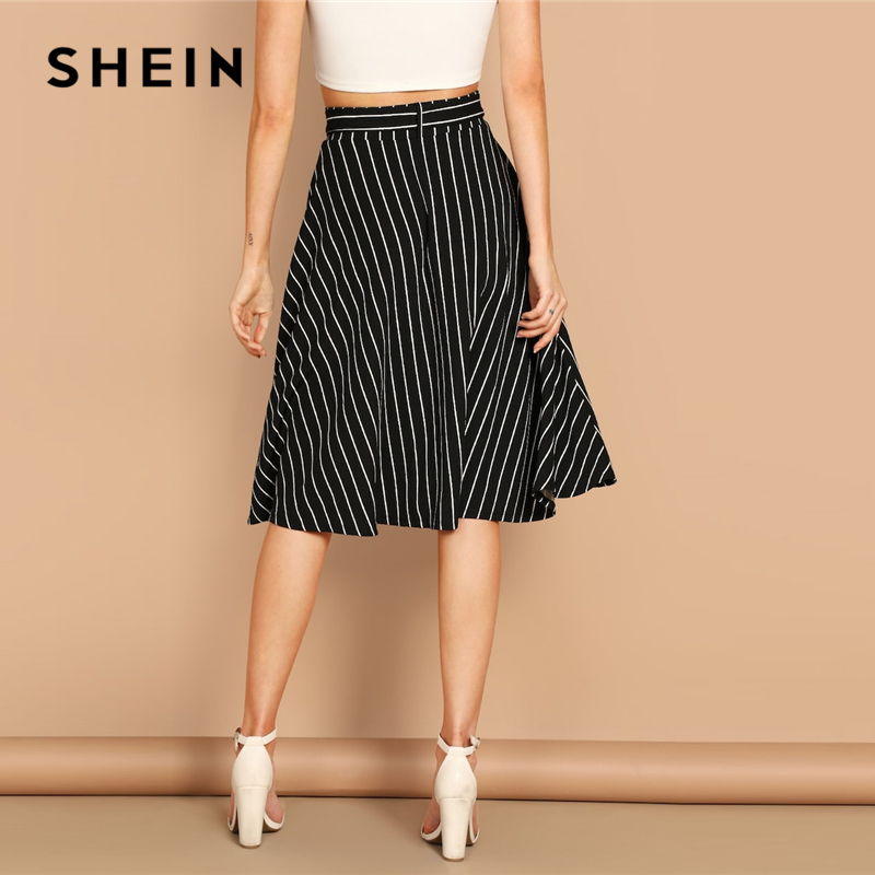 SHEIN Boho Black and White High Waist Striped Belted Shift A Line Skirt Womens 2019 Spring Elegant Casual Streetwear Midi Skirt 2