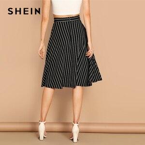 Image 2 - SHEIN Boho Black and White High Waist Striped Belted Shift A Line Skirt Womens 2019 Spring Elegant Casual Streetwear Midi Skirt