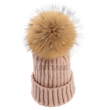 Fashion New Real Fox Fur Mink Pompoms 15cm Skullies Beanies Hat For Women Girl Winter Hats Solid Wool Warm