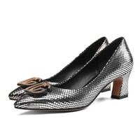 Leather fastener pump women's shoes shallow mouth comfortable high heels mature office gas field women's shoes