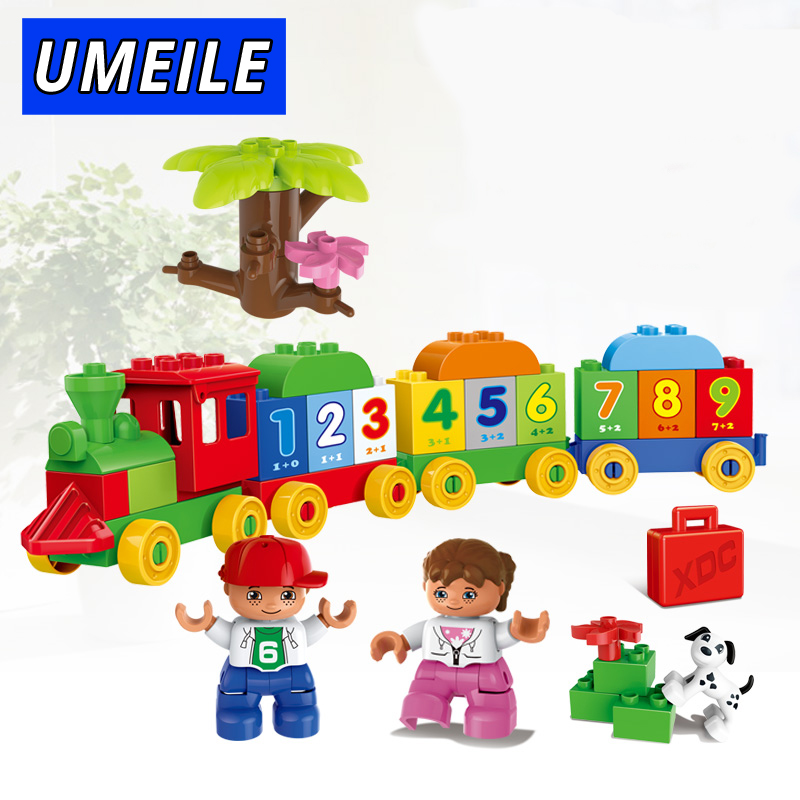 UMEILE Brand 57PCS City Number FunTrain Diy Kids Big Block Digit Boy Girl Educational Brick Set Compatible with Duplo Gift umeile brand farm life series large particles diy brick building big blocks kids education toy diy block compatible with duplo