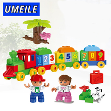 Cheaper UMEILE Brand 57PCS City Number FunTrain Diy Kids Big Block Digit Boy Girl Educational Brick Set Compatible with Duplo Gift