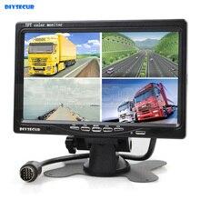 DIYSECUR DC12V-24V 7 Inch 4 Split Quad Screen Display Color Rear View Monitor for Monitoring System