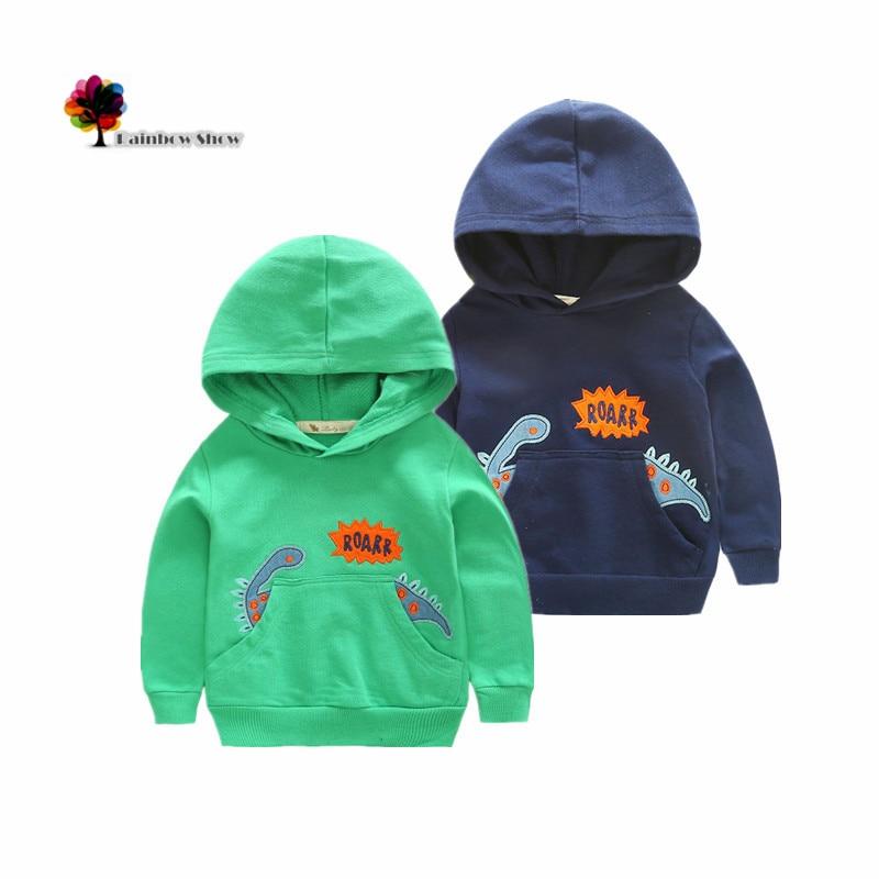New Children Clothing Boys Autumn and Spring Terry Cotton Long-sleeved Hooded Cartoon Dinosaur Design Children Sweatershirt