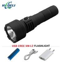 Cree xm l2 krachtige led zaklamp usb oplaadbare lanterna fakkel waterdichte light18650 batterij