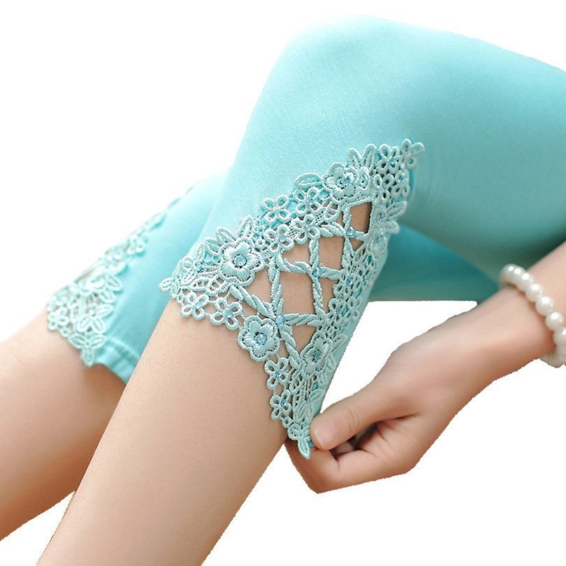 CUHAKCI Floral Cotton Leggings Women Short Leggings Hollow Out Summer Leggings Slim White Female Black Casual Capris New