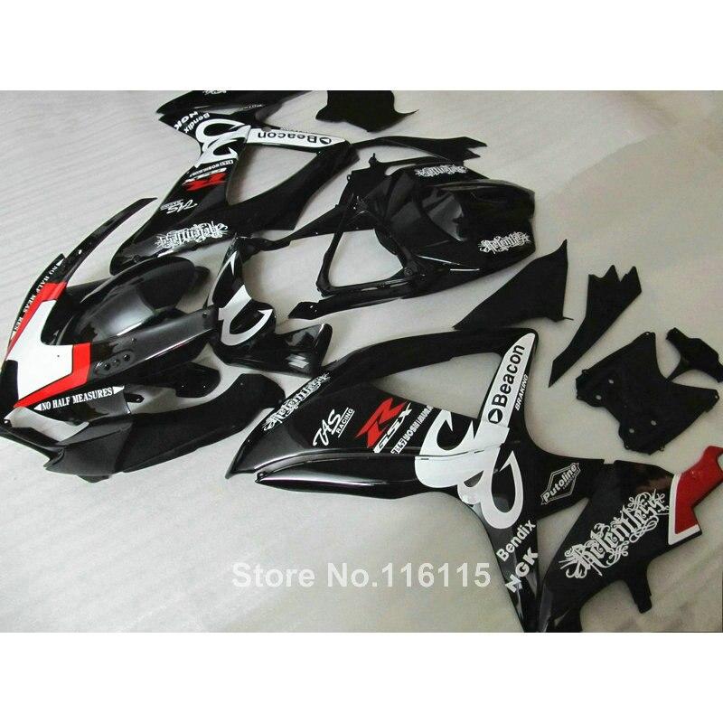 Injection ABS  fairing kit for SUZUKI K8 GSXR 600 750 2008 2009 2010 white black Beacon GSX-R600 GSX-R750 08 09 10 fairings X529  injection mold fairing kit for suzuki gsxr1000 09 10 gsx r gsxr 1000 k9 2009 2010 fashion white fairings set 7gifts sz07