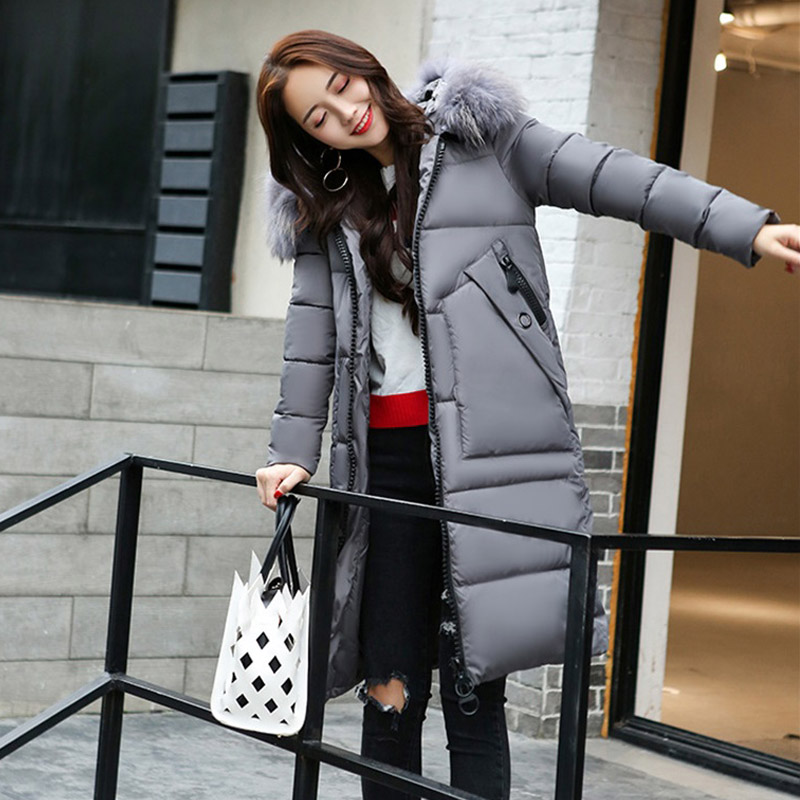 2017 Hot Women Winter Long Down Coat Fashion Female Duck Parkas Jacket Thick Warm Elegant Down Coat Slim Hair Ball Wadded Jacket