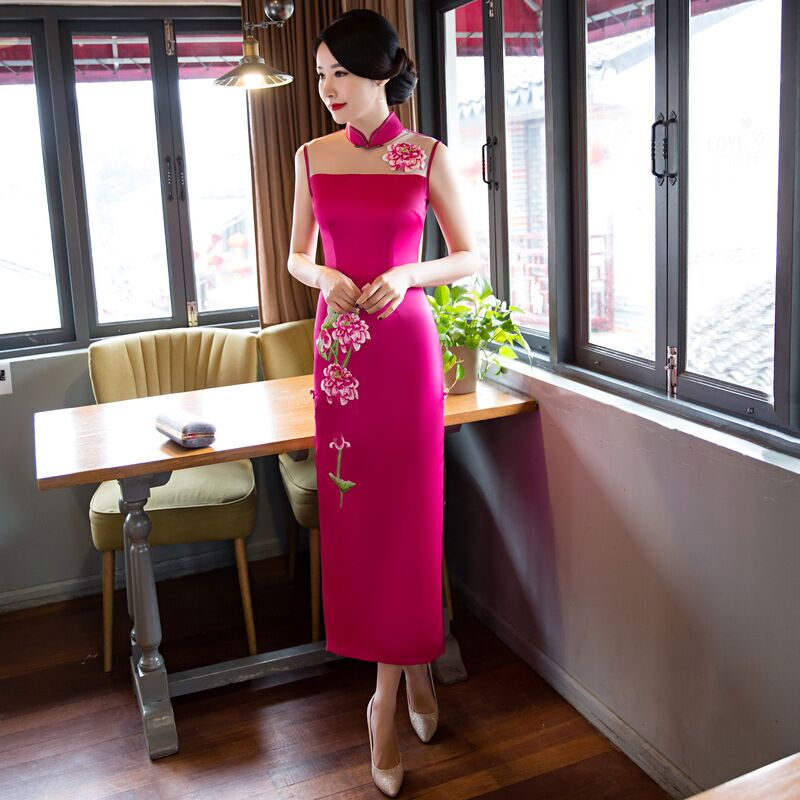 124 yellow Arrivée Mince De Femmes Chinois 468862 Cheongsam Style Xxl 123 L Black Mode Taille S M Nouvelle Pink 122 Satin Qipao Xl hot Long Robe bf7yvY6g